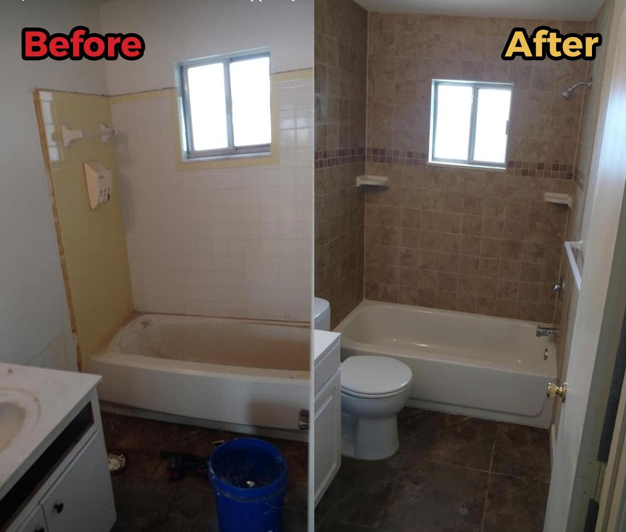 Bathroom tub remodel before/after